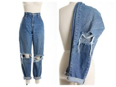 All SIZES Destroyed Knees Boyfriend Jeans Plus by ShopAudella Ripped Mom Jeans, Best Jeans, Boyfriend Jeans, Skinny Jeans, High Waisted Mom Jeans, Black Mom Jeans, Mode Outfits, Jean Outfits, Casual Outfits