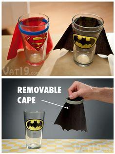 adorkable superman and batman pint glass $10.99