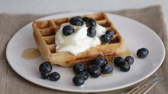 Whole Grain Waffles with Blueberries and Yogurt Videos | Food and Cooking How to's and ideas | Martha Stewart