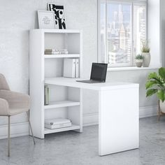 Shop for Office by kathy ireland Echo 56W Bookcase Desk in Pure White. Get free delivery at Overstock.com - Your Online Office Furniture Store! Get 5% in rewards with Club O! - 22396803