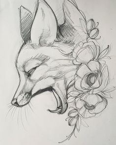 Best Picture For animal drawing spirit For Your Taste You are looking for something, and it is going Pencil Art Drawings, Art Drawings Sketches, Cute Drawings, Tattoo Drawings, Tattoo Outline Drawing, Animal Sketches, Animal Drawings, Arte Sketchbook, Fox Art