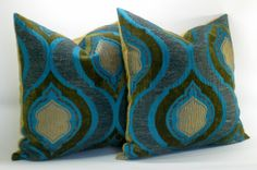 Pair of TWO Turquoise Velvet pillow covers - 18 x 18 $130