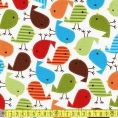 Robert Kaufman Fabric  Urban Zoologie Bird Bermuda FQ Retro Pets Childrens Kids