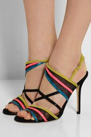 Jimmy Choo Visby mesh, suede, patent-leather and elaphe sandals