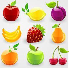 Frutas brillantes y acristaladas 2.0 en vector, imagen vectorial