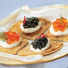 Traditional Russian Food – Blinis, Pirozhki, Shchi, and More - crepes served with caviar? Ukrainian Recipes, Russian Recipes, Russian Foods, Mini Desserts, Traditional Russian Food, Tapas, Russian Pastries, Seafood Dishes, Buffet