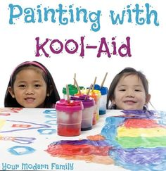 This activity is really fun and our kids LOVE it! Two ingredient Kool-Aid Paint for your kids.
