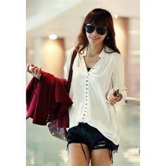 Women's Cotton T-Shirt With V-Neck Long Sleeve Solid Color Design