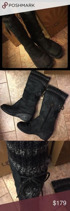 Authentic UGG with SKYLAIR blk EUC! Authentic UGG boots. Wedge heel. Sweater with leather lace on back. Warm and cozy...SUPER Stylish! UGG Shoes Heeled Boots