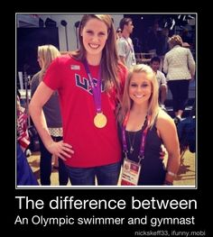 Missy Franklin and Shawn Johnson. I always feel like Missy Franklin when in a group. Shawn Johnson is so tiny and that poor girl just hulks over her like she's about to swallow her up whole, lol. Swimming Memes, Keep Swimming, Usa Swimming, Swimming Funny, Missy Franklin, Gymnastics Quotes, Gymnastics Funny, Gymnastics Things, Gymnastics Workout
