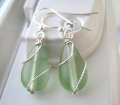 Peridot Green Sea Glass Earrings  Sea Glass by Sparkleandswirl, $15.00