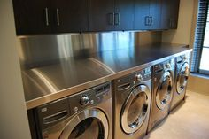 Metal countertops provide a more commercial feel to the home. Especially kitchens. Best matched with concrete flooring.