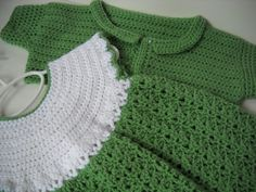 Crochet Baby Dress, Jacket, Hat set, white and sage green