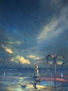 Pixiv Id 6414412 Mobile Wallpaper - Zerochan Anime Image Board Anime School Girl, Anime Art Girl, Anime Girls, Fantasy Landscape, Fantasy Art, Wallpaper Animes, Graphisches Design, Beautiful Dream, Environmental Art