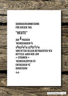 Druck/Wandbild/Print: Gebrauchsanweisung für Heute