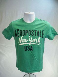 Aeropostale-Mens-Short-Sleeve-Graphic-T-shirt-Green-size-XS-Aero-Tee-New