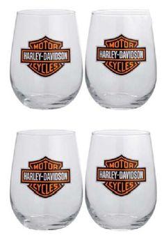 Harley-Davidson® Set of Four Stemless Wine Glasses 99205-14V