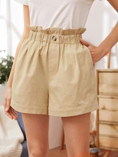 ((Affiliate Link)) Description Style:	Casual Color:	Khaki Pattern Type:	Plain Details:	Button, Pocket, Paper Bag Waist Type:	Wide Leg Season:	Summer Composition:	100% Polyester Material:	Polyester Fabric:	Non-stretch Sheer:	No Fit Type:	Loose Waist Type:	High Waist Closure Type:	Elastic Waist