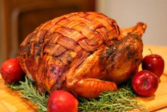 Menu ideas for #Thanksgiving dinner - Turkey: Bacon-blanketed and herb-roasted
