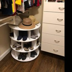 27 Cool & Clever Shoe Storage Ideas for Small Spaces - Simple Life of a Lady Shoe Storage Bins, Shoe Storage Solutions, Small Storage, Storage Spaces, Shoe Storage Ideas For Small Spaces, Spinning Shoe Rack, Rotating Shoe Rack, Livingston, Shoe Storage Floor To Ceiling
