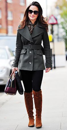 Pippa commuted to work in a Reiss coat, French Connection blouse, black pants, and brown boots. A Loewe bag completed her look.