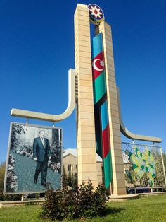 After the collapse of the Soviet Union in 1991, photos of President Heydar Aliyev appeared alongside Azerbaijan's flag and map on Soviet-era monuments.