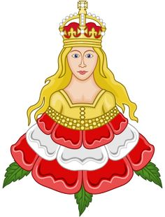 Royal Emblem of Katherine Parr derived from her Parr ancestral coat of arms. A maiden rising from a Tudor rose.