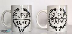 """Tazas mug """"Súper papá y súper mamá"""" pintadas a mano Aniramnoc"""