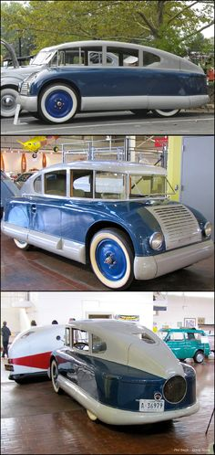1928 Martin Aerodynamic.Built by Martin Aircraft Company of Garden City, New York, its pontoon-shaped underbody, fully covered rear wheels, gently sloping nose, and tapering rear body were unusually efficient for the day and enabled the car to reach a high 107 miles per hour in testing.The one-of-a-kind car cost a staggering $17,000 to build and is powered by a four-cylinder, water-cooled rear-mounted engine.