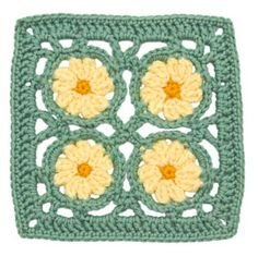 Crocheted Floral Block: Primrose Square : Lion Brand Yarn