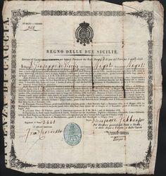 LICENZA DI CACCIA A GIUSEPPE DE GIORGIO-REGNO DELLE DUE SICILIE-1843