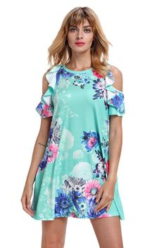 Ruffled Cold Shoulder Floral Dress In Sexy Dresses, Dresses For Sale, Short Sleeve Dresses, Dresses With Sleeves, Floral Dresses, Casual Outfits, Fashion Outfits, Women's Fashion, Boho Dress