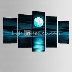 Hand-Painted Abstract Gray Block Seascape Moon Oil Painting on Canvas 5pcs/set Without Frame - USD $ 32.79