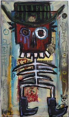 Outlaw Dead Cowboy by New Mexico Artist Kelly Moore #neo-outsiderart #neo-folkart #fleamarketartist