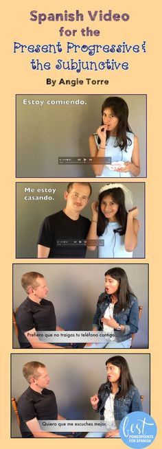 FREE videos: Melanie talks about what she's doing using the present progressive while Rodrigo tries to get Jessica to marry him. She tells him what he needs to change in order for that to happen using the present subjunctive. Do they get married? What's better comprehensible input than conversation with a native speaker? Videos of native speakers with Spanish subtitles, visuals, music, and animation to aid in comprehension, and for recycling and repetition of vocabulary and concepts.