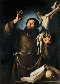 Bernardo Strozzi (1581-1644) San Francesco in estasi olio su tela, cm 140x90 U