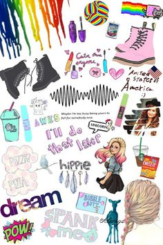 collage, cool, cute, demi lovato, dr martens, dream, hipster, lyric, maybelline, overlays, pizza, rainbow, stickers, transparent, tumblr, wallpaper