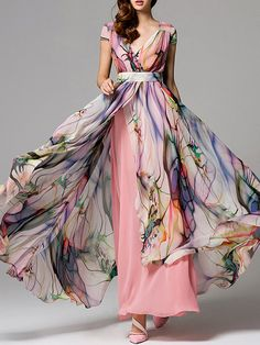 Pink Chiffon Short Sleeve Printed Maxi Dress
