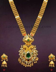 Jewellery Designs: Gold Long Set with Amazing Pendant