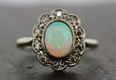 Art Deco Opal Ring Antique Opal & Diamond Ring by AlistirWoodTait, £1150.00.
