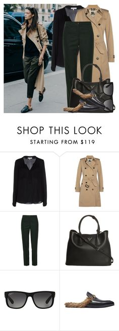 """""""How to: Wear fur loafers"""" by vallle ❤ liked on Polyvore featuring Milly, Burberry, Tory Burch, Prada, Ray-Ban and Gucci"""