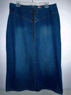 #FrenchCuff #90s #Style #Denim #Skirt #LaceUp #Boho Women Sz 14