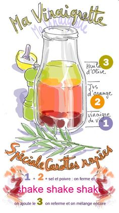 Vinaigrette Spéciale Carottes Rapées Salad Sauce, Pesto Sauce, Summer Recipes, My Recipes, Vegan Recipes, Cooking Tips, Cooking Recipes, Marinade Sauce, Food Illustrations