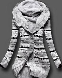 Love Love LOVE this Cardigan! Grey, Black and White Stripe Stylish Hooded Long Sleeve Geometric Single-Breasted Women's Sweater Cardigan #Coazy #Cardigan #Fashion