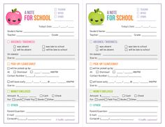 Mommy and Things: Free School Note Printable
