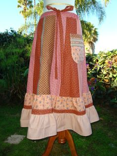 Long Maxi Country Corduroy Upcycled  Retro VINTAGE Dress