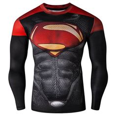 $21.63 Cool 3D Superman Pattern Color Block Skinny Round Neck Long Sleeves Men's Quick-Dry T-Shirt