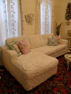 Vintage Chic Furniture Schenectady NY: MY COUCH SLIPCOVERD IN VINTAGE CHENILLE BEDSPREADS