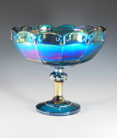Blue Carnival Glass- I got this for  Christmas a year ago. I love it, is beautiful in person - Claudia