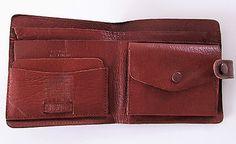Vintage tan brown bi fold sundew hide leather wallet Made in England R14902